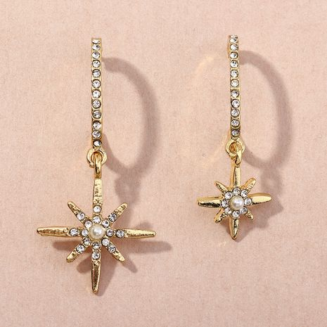 retro all-match diamond C-shaped eight-pointed star earrings NHNZ269575's discount tags