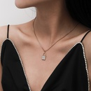creative jewelry trendy single layer micro diamond lock alloy necklace NHXR269576