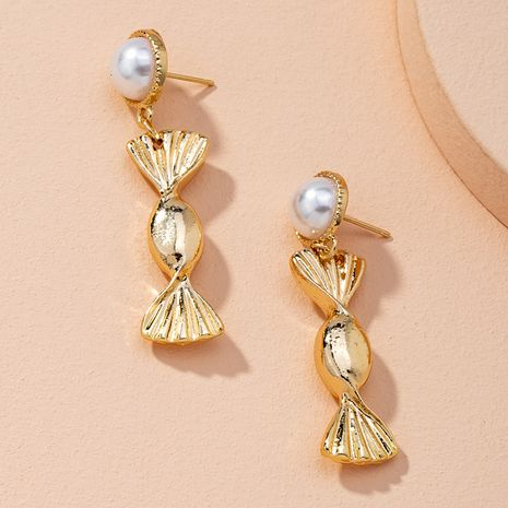 Korean cute inlaid pearl candy playful sweet beauty alloy earrings wholesale NHAI269599's discount tags