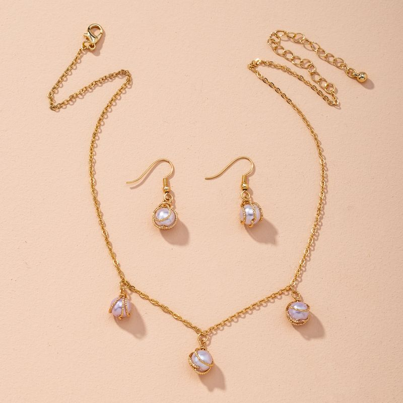 Korean pearl simple fashion alloy necklace earrings two-piece set NHAI269601