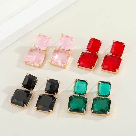 Korean colorful glass square crystal earrings  NHGO269612's discount tags