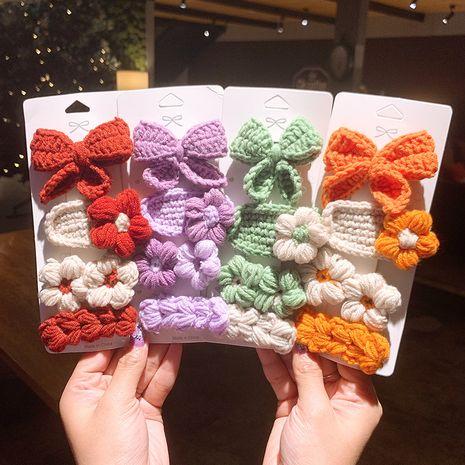 Ensemble d'épingles à cheveux pour enfants en laine avec nœud tricoté NHSA269628's discount tags