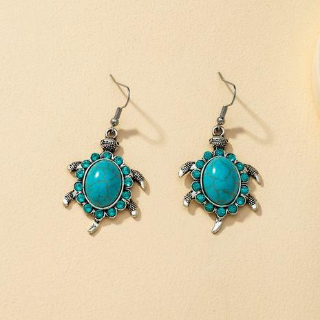 Women's long retro cartoon tortoise ethnic tassel blue simple metal earrings NHQJ269637's discount tags
