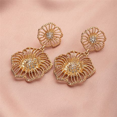 Light luxury simple fashion baroque flower diamond Korean gold earrings NHQJ269639's discount tags