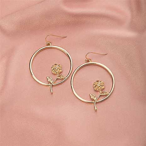 autumn new round rose retro flowers Korean earrings NHQJ269641's discount tags