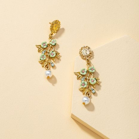 exaggerated contrast flower petals long pendant tassel earrings NHQJ269642's discount tags