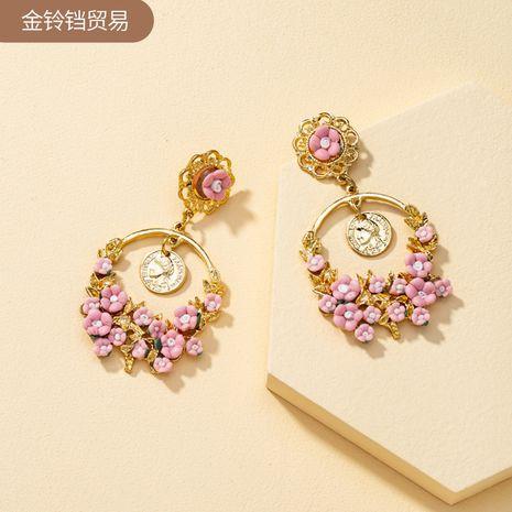 rhinestone pink flower long retro round geometric metal gold coin earrings NHQJ269665's discount tags