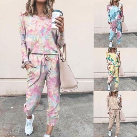 fashion  printing casual home wear long sleeve women suit NHUO269695's discount tags