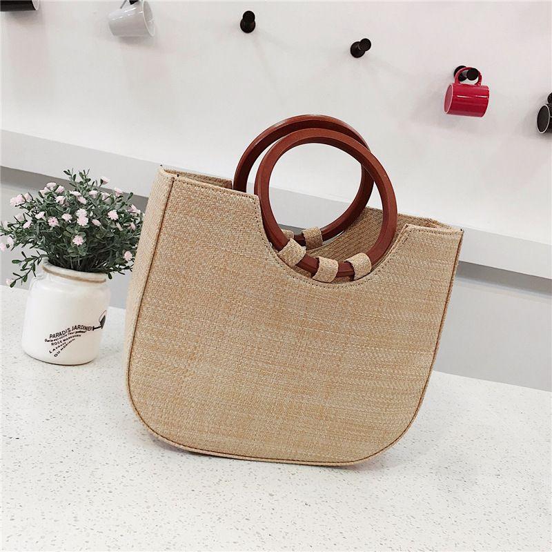new korean  simple straw  wooden handle handbag  NHRU269730