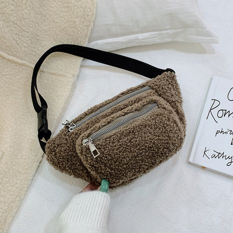 new trend korean fashion wild crossbody casual simple solid color plush bags  NHRU269734's discount tags
