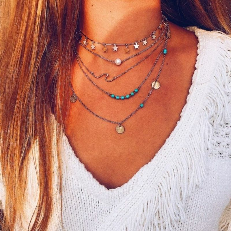 Fashion Simple Star Pearl Turquoise Popular Fashion Necklace NHAJ269736