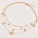 Fashion womens full diamond fivepointed star eye pendant multilayer necklace  NHAJ269743