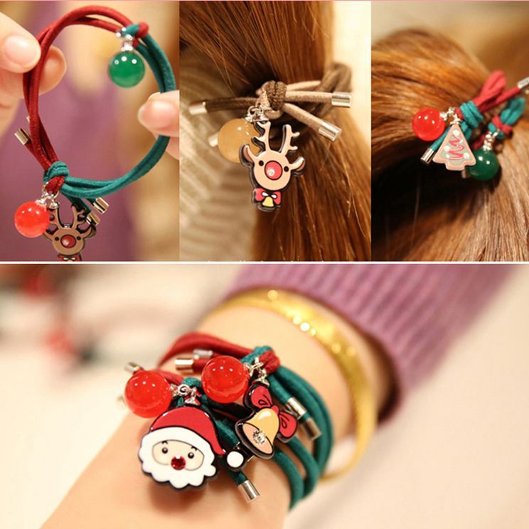 Christmas day children's Santa Claus red two-color hair rings  NHCQ269767
