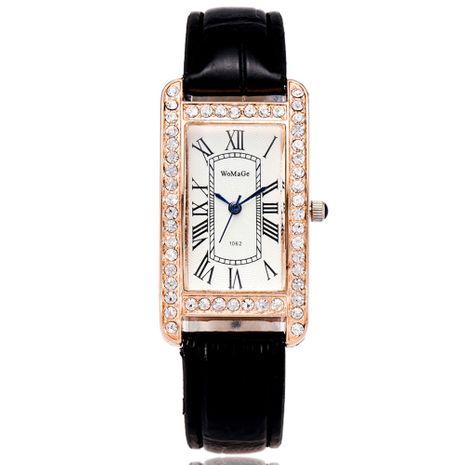 Reloj de pulsera con correa de escala romana de diamantes de imitación de cabeza de reloj rectangular coreano NHSS269794's discount tags