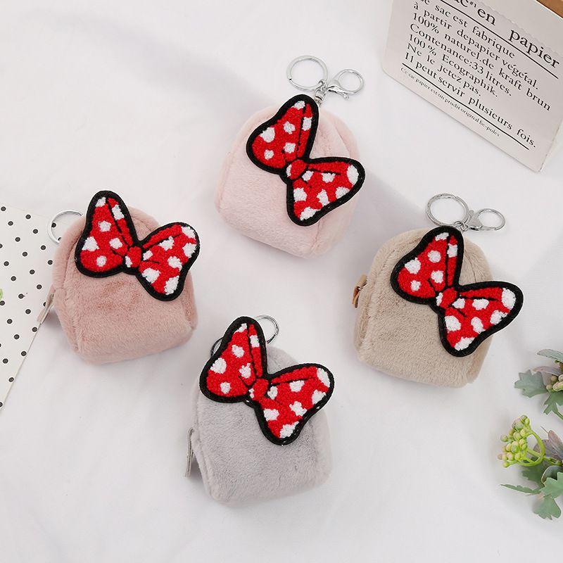 Korea  coin purse cartoon bow plush zipper card bag wholesale NHAE269810