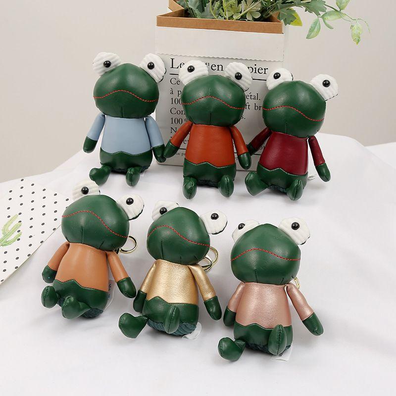 creative imitation leather frog doll pendant lover cute car keychain  NHAE269816