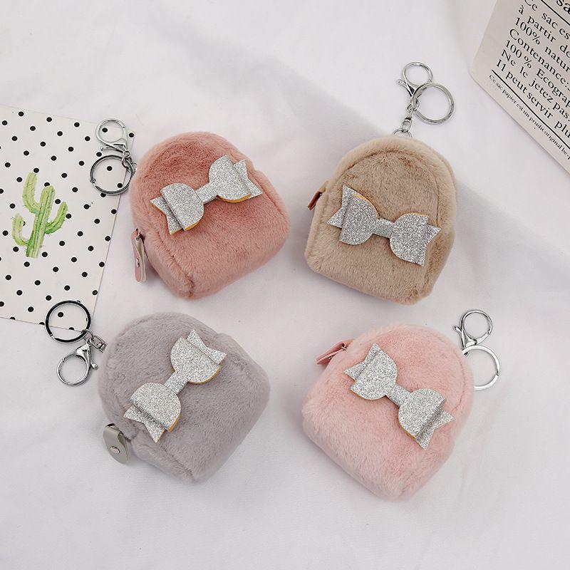 hot sale fashion  plush  bowknot mini backpack-shaped coin purse NHAE269818