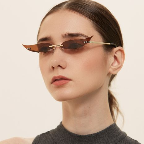 frameless metal pointed cat eye party sunglasses  NHXU269826's discount tags