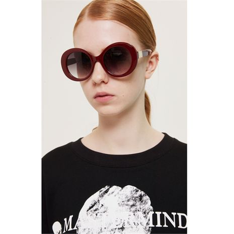 round retro thick-legged metal sunglasses NHXU269865's discount tags