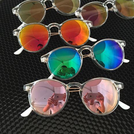 transparent frame colorful women's retro round sunglasses NHXU269877's discount tags