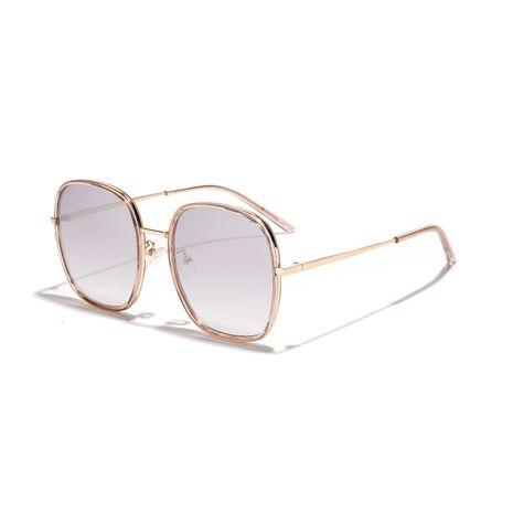 Korean large square reflective white mercury semi-metal retro sunglasses  NHXU269886's discount tags