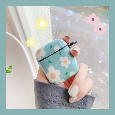 Korean  simple  green flower protective shell suitable for Apple Airpods 2 generation wireless bluetooth headset 1 generation IMD NHFI269961's discount tags