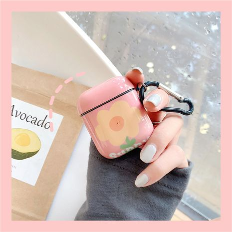 Korean  simple orange flower protective shell suitable for Apple Airpods 2 generation wireless bluetooth headset 1 generation IMD soft NHFI269960's discount tags