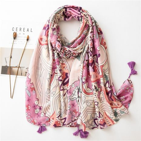 women's cotton and linen retro floral scarf soft skin-friendly and elegant shawl NHGD269985's discount tags