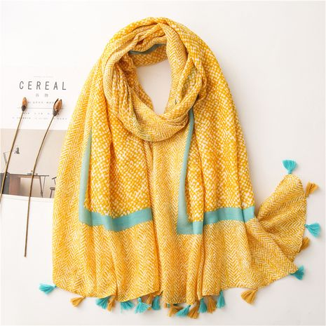women's cotton and linen all-match snake skin pattern silk scarf shawl dual-use  NHGD269986's discount tags