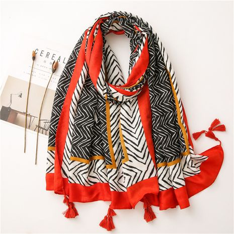 Abstract cotton and linen scarf autumn and winter Korean long geometric arrow long shawl NHGD269984's discount tags
