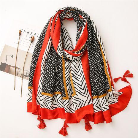 Bufanda abstracta de algodón y lino otoño e invierno chal largo de flecha geométrica larga coreana NHGD269984's discount tags