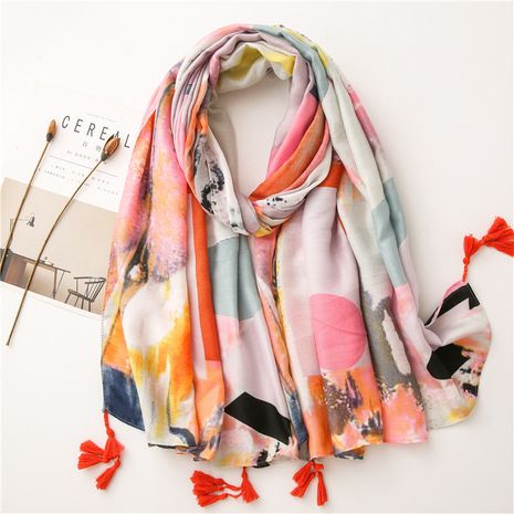 cotton and linen scarf Korean ink oil painting long gauze summer sunscreen shawl NHGD269988's discount tags