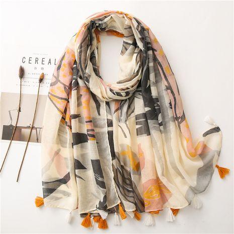 Korean cotton and linen scarf women plain bougainvillea spring thin silk shawl beach towel NHGD269989's discount tags