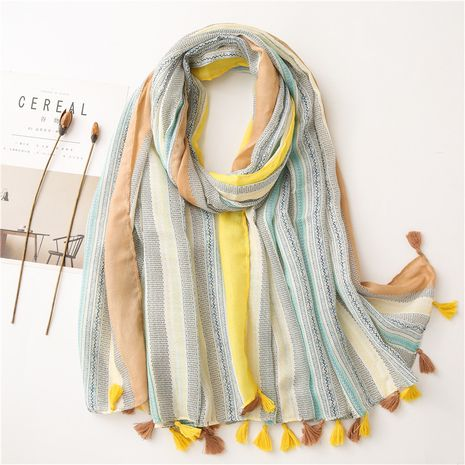 Korean style cotton and linen art multifunctional shawl sunscreen beach scarf NHGD269990's discount tags