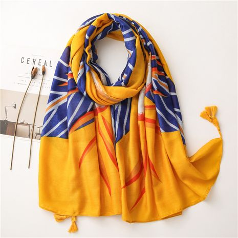 Bufanda de lino de algodón abstracto corea amarillo brillante hojas chal largo protector solar NHGD269991's discount tags