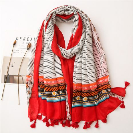 Ethnic style cotton  korean simple polka dot long fringed gauze scarf NHGD269992's discount tags