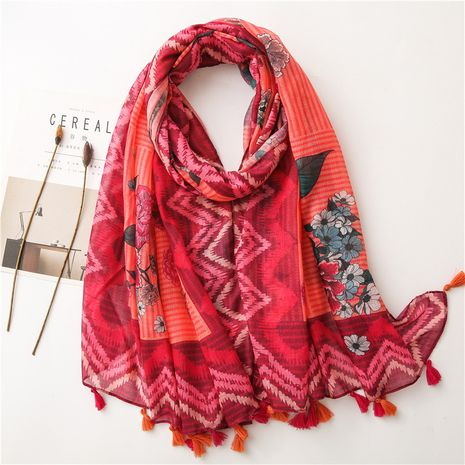 new cotton and linen scarf Korean red flower ethnic style shawl gauze beach towel NHGD269993's discount tags