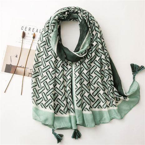 Korean green geometric contrast color long sunscreen cotton and linen scarf shawl dual-use NHGD269996's discount tags