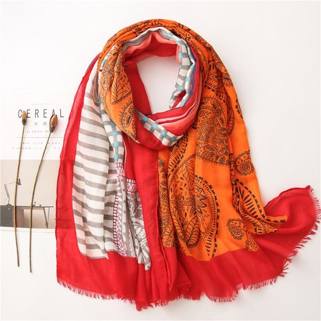 ethnic style cotton and linen gauze cashew hit color beach silk scarf shawl NHGD269997's discount tags