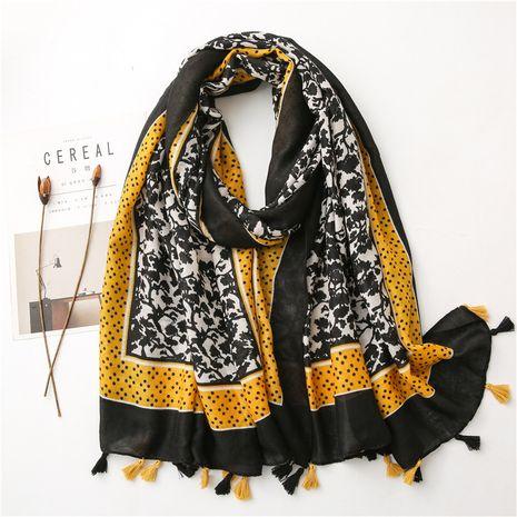 hermoso y elegante estanque de loto retro pequeña flor sarga bufanda de seda de algodón chal cálido NHGD269999's discount tags
