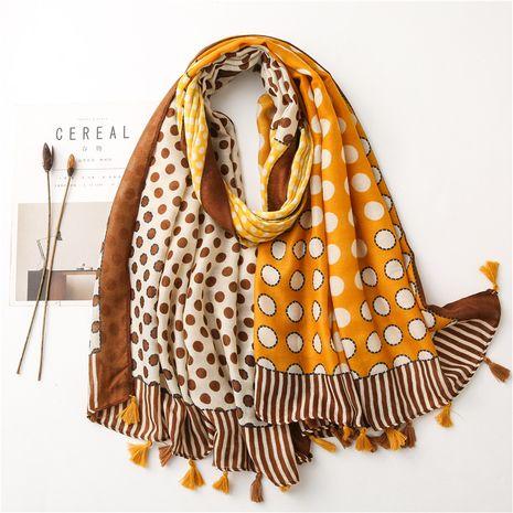 bufanda larga de algodón y lino con costuras circulares coreanas NHGD270000's discount tags