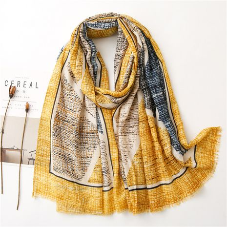 soft and colorful contrast color super large cotton and linen sunscreen air-conditioning shawl scarf NHGD270001's discount tags