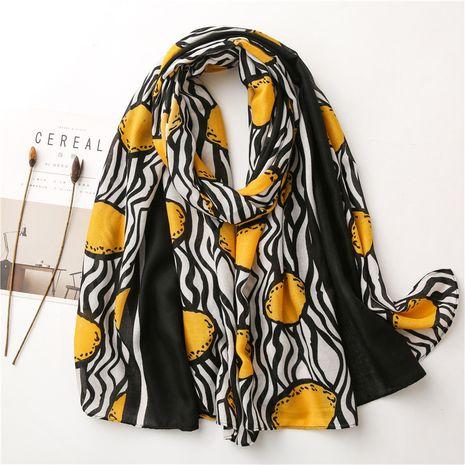 algodón y lino mujeres otoño e invierno patrón de limón coreano bufanda de gasa larga chal NHGD270002's discount tags