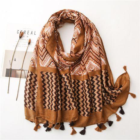 chal largo de mujer corrugado geométrico de algodón y seda de lino NHGD270006's discount tags