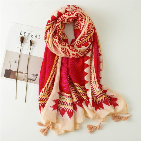 New rose red geometric pattern contrast color fashion silk sunscreen shawl scarf NHGD270007's discount tags
