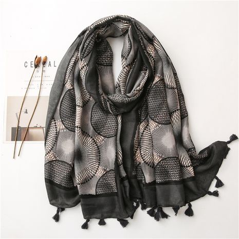 Colorful cotton and linen autumn and winter Korean circle stitching long scarf shawl dual-use NHGD270008's discount tags