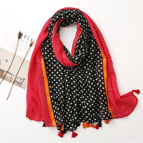 spring and autumn Korean colorful polka dot cotton and linen silk scarf long shawl dual-use NHGD270009's discount tags