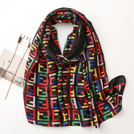 Korean colorful matching letters autumn and winter cotton and linen silk scarf long shawl  NHGD270011's discount tags