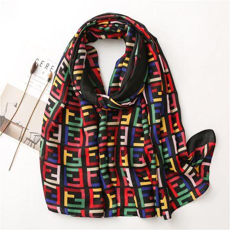 Letras a juego de colores coreanos otoño e invierno bufanda de seda de algodón y lino chal largo NHGD270011's discount tags