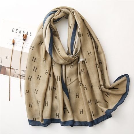 Letter color matching spring and autumn seaside shawl scarf dual-use NHGD270013's discount tags